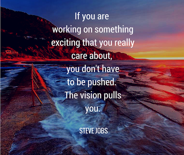 motivational ocean view with Steve Jobs quote about working with your passion